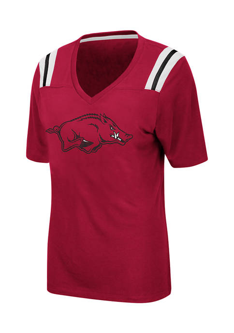 Womens NCAA Arkansas Razorbacks Distressed T-Shirt