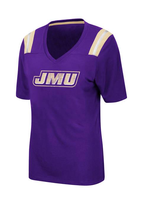 Womens NCAA JMU Dukes Distressed T-Shirt