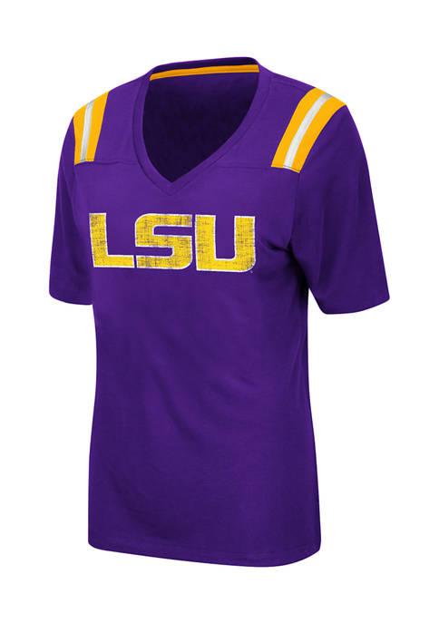 Womens NCAA LSU Tigers Distressed T-Shirt