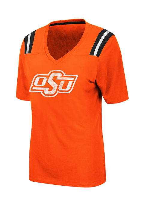 Womens NCAA Oklahoma State Cowboys Distressed T-Shirt