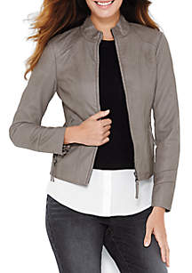 Zip Front Faux Leather Jacket