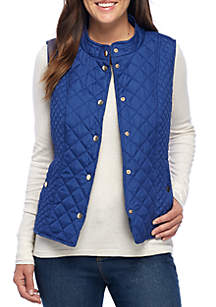 Quilter Puffer Vest with Side Rib Insets