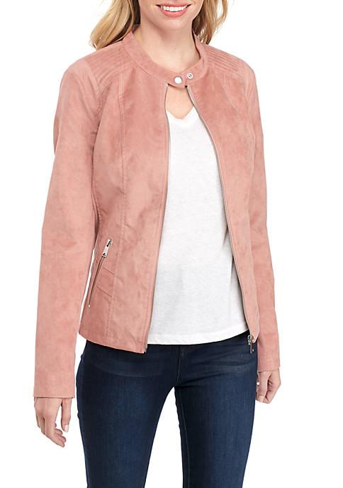 Suede Zip Front Jacket