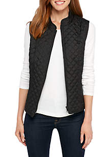 Petite Quilter Puffer Vest with Side Rib Insets