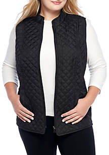 Plus Size Quilter Puffer Vest with Side Rib Insets