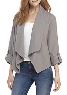New Directions® 3/4 Roll-Tab Sleeve Drape Front Jacket