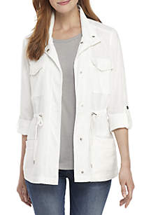 New Directions® 3/4 Roll-Tab Sleeve Linen Jacket