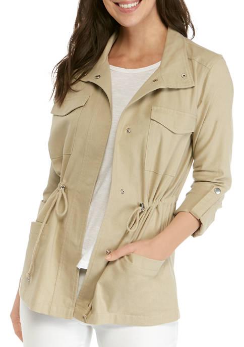 3/4 Roll-Tab Sleeve Linen Jacket