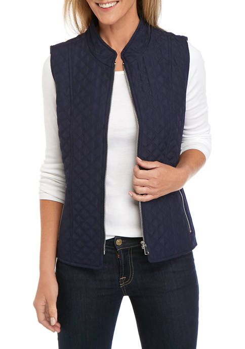 Petite Solid Zip Puffer Vest with Solid Lining