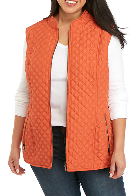 New Directions® Plus Size Zip Front Puffer Vest