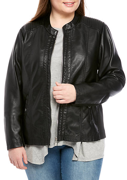 New Directions® Plus Size Faux Leather Zip Jacket