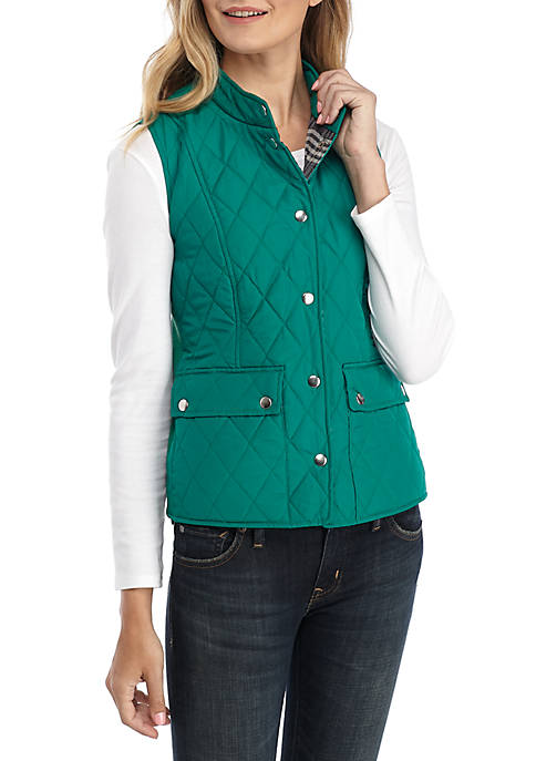 Side Rib Snap Front Vest with Printed Trim