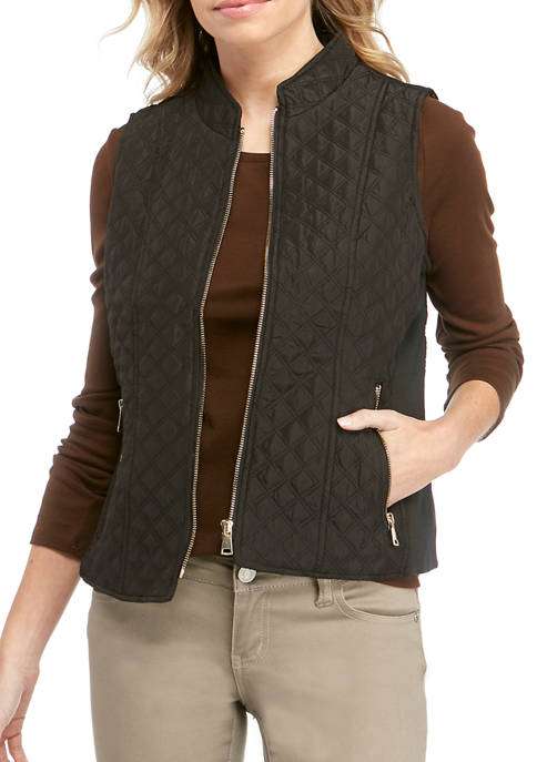 New Directions® Petite Solid Zip Puffer Vest with