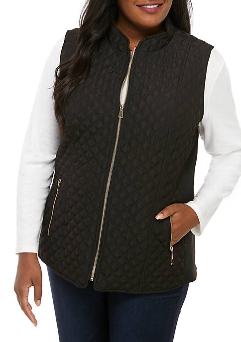 Plus Size Puffer Vest with Printed Lining