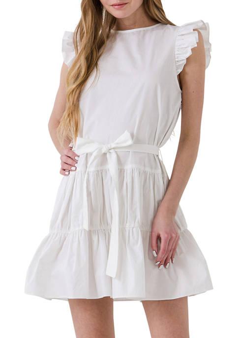 ENGLISH FACTORY Ruffled Tied Waist Dress
