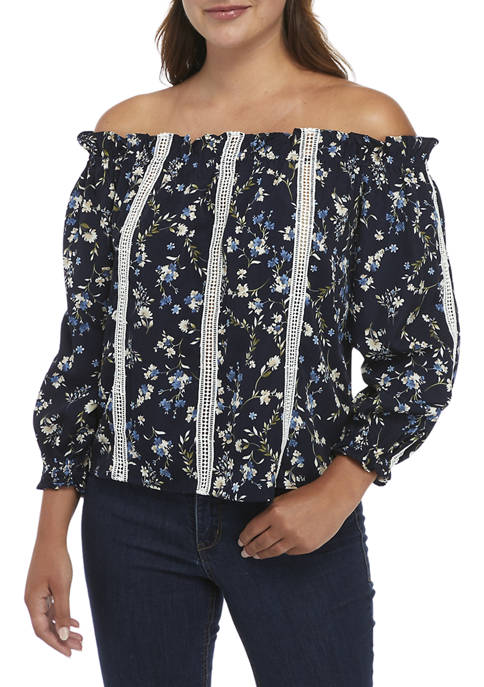 ENGLISH FACTORY Printed Floral Off The Shoulder Top