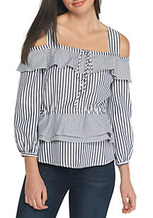 Petite Cold Shoulder Long Sleeve Striped Top