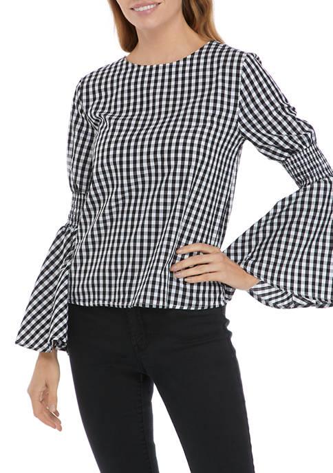 Womens Bell Sleeve Gingham Woven Top