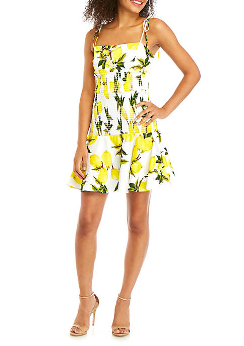 Lemon Printed Smocked Dress