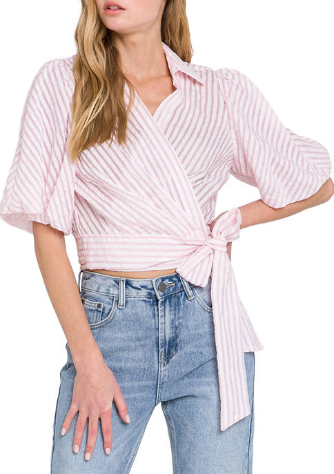 Womens Puff Sleeve Striped Wrap Blouse