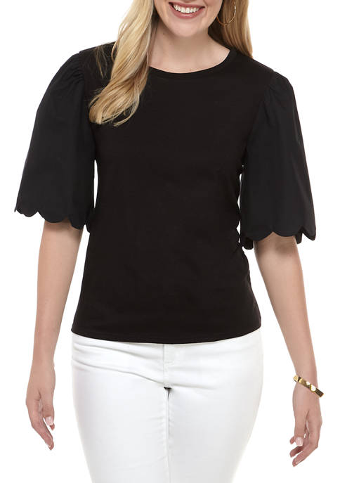 ENGLISH FACTORY Womens A Line Puff Sleeve Top
