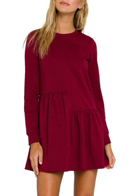 Womens Knit Unbalanced Seam Dress
