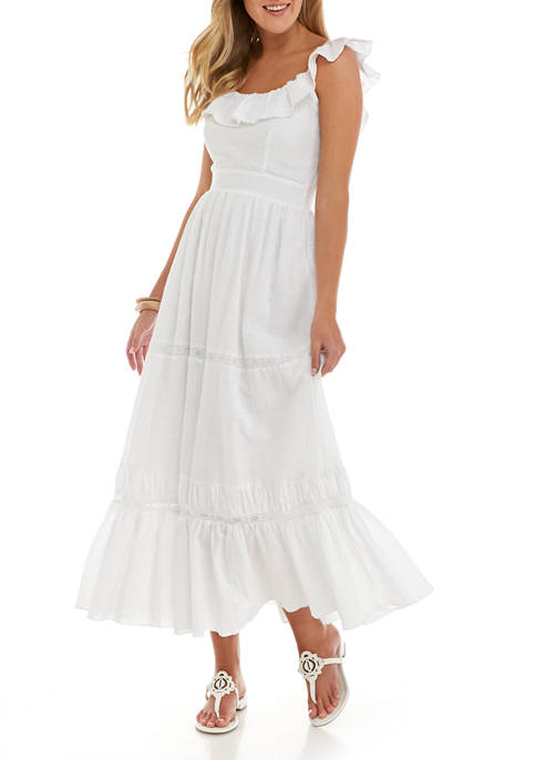 Free The Roses Womens Ruffle Maxi Dress
