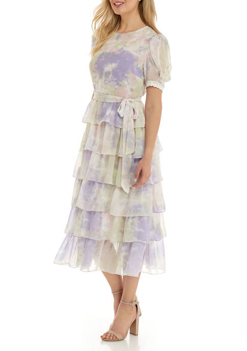 Free The Roses Womens Tiered Tie Dye Midi