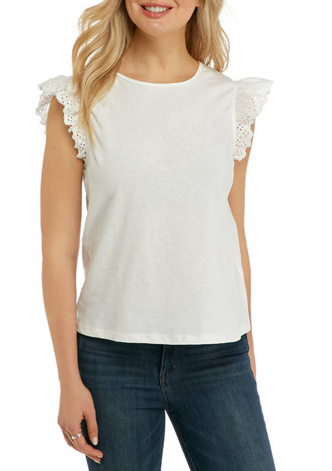 Free The Roses Womens Eyelet Flutter Sleeve Knit