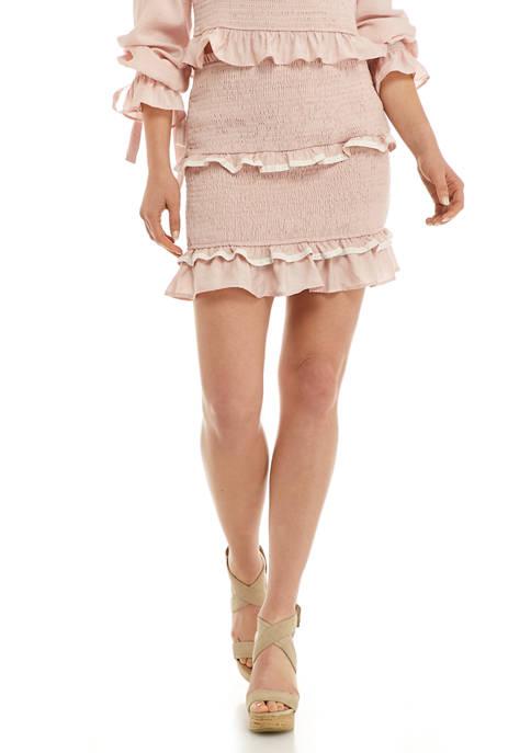 Free The Roses Womens Smocked Mini Skirt
