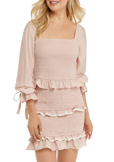 Free The Roses Womens Balloon Sleeve Smocking Top