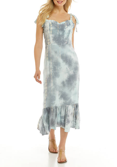 Womens Tie Dye Fitted Sleeveless Dress