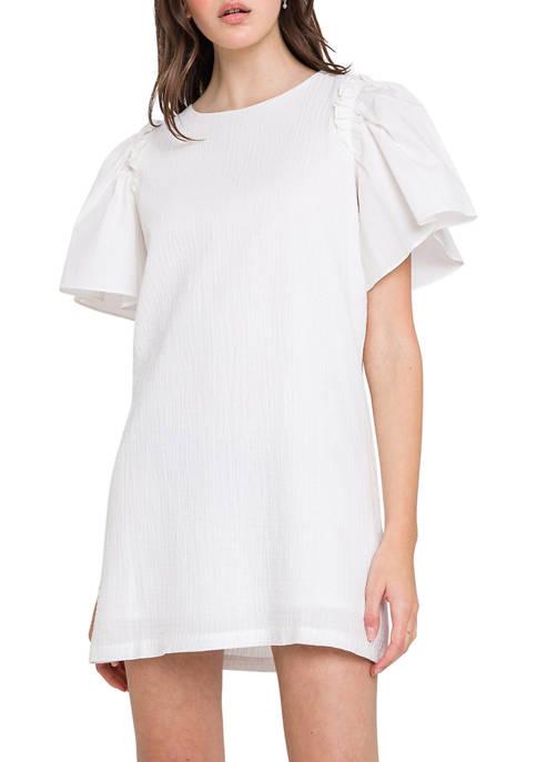 Woven Mixed Flutter Sleeve Dress
