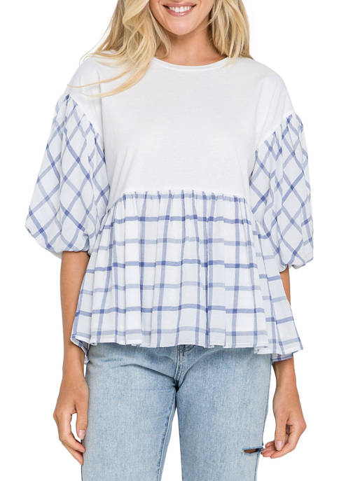 Womens Knit and Check Woven Combo Top