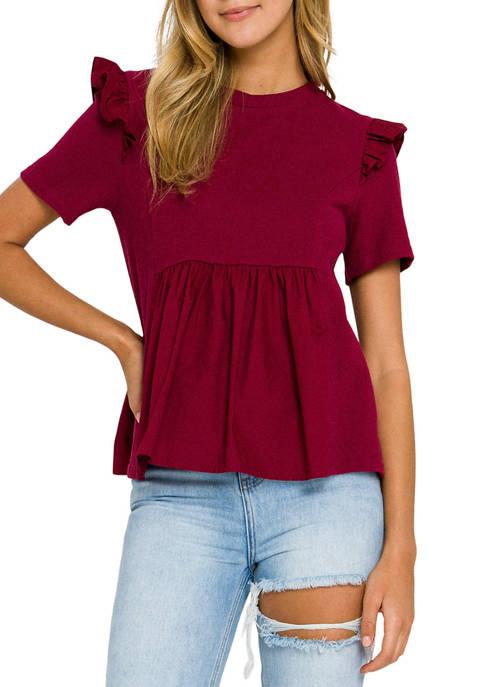 Womens Knit Poplin Mixed Ruffle Top