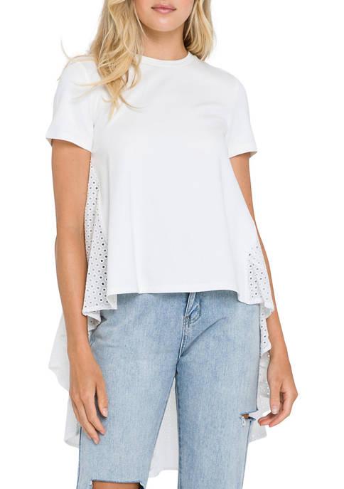 High Low T-Shirt with Eyelet Peplum Hem