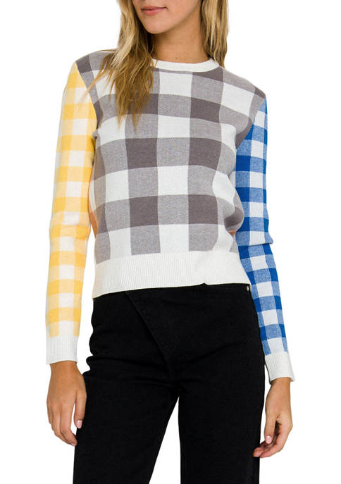 ENGLISH FACTORY Womens Multi Gingham Knit Top