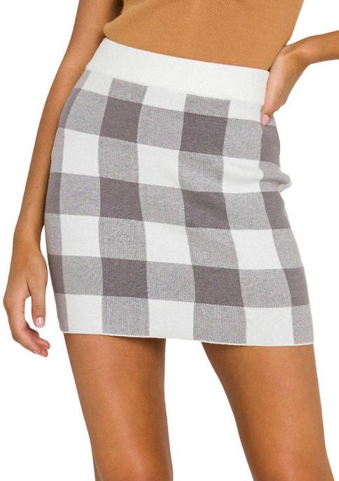 ENGLISH FACTORY Womens Multi Gingham Knit Mini Skirt