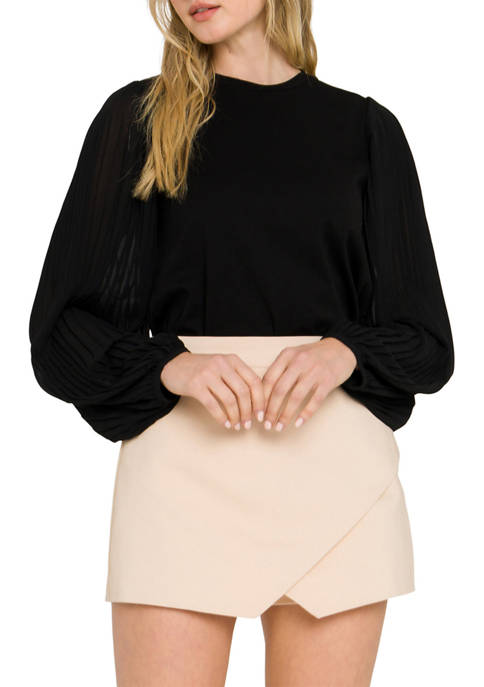 ENGLISH FACTORY Womens Chiffon Long Sleeve Blouse