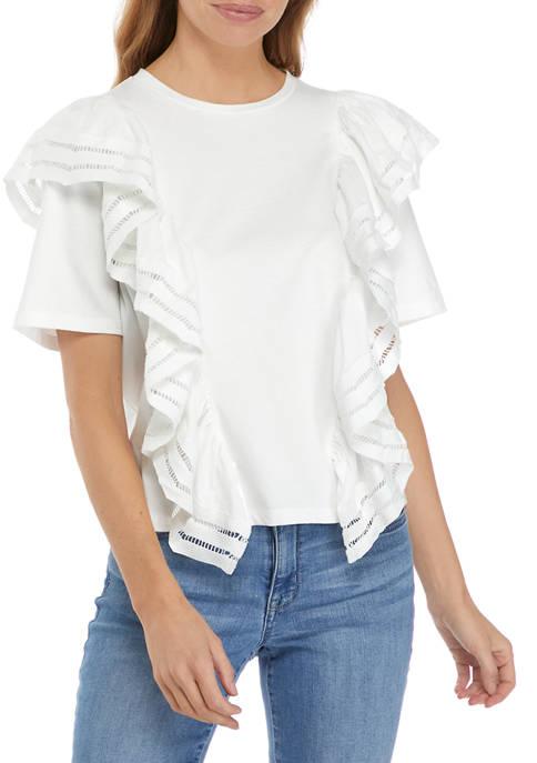 Womens Lace Trim Ruffle Top