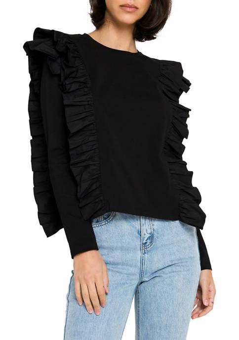 ENGLISH FACTORY Womens Poplin Ruffle Long Sleeve Blouse