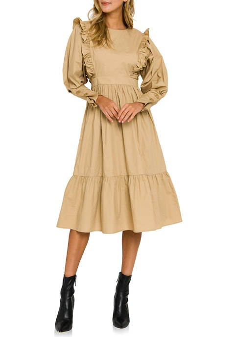 ENGLISH FACTORY Ruffle Detail Tiered Midi Dress