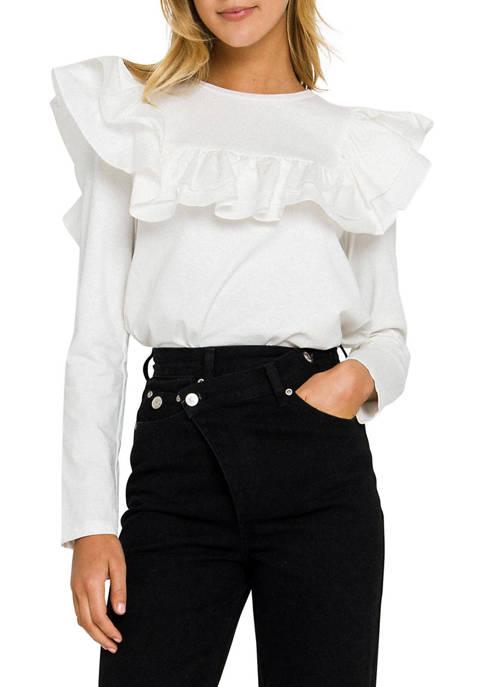Womens Ruffle at Poplin T-Shirt