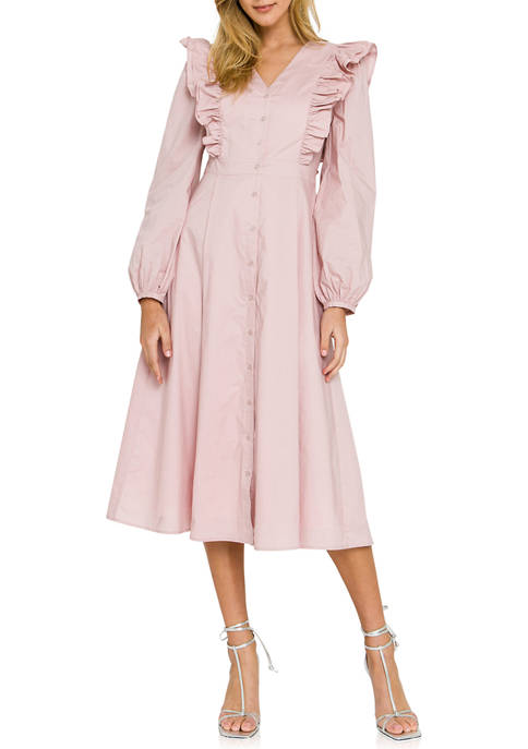 ENGLISH FACTORY Womens Ruffled Button Closure Midi Dress