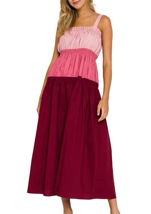 ENGLISH FACTORY Womens Color Block Sleeveless Dress