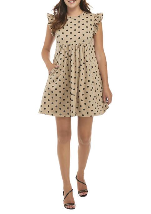 Womens Polka Dot Knit Babydoll Dress