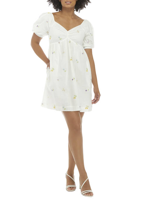 Womens Puff Sleeve Embroidered Babydoll Dress