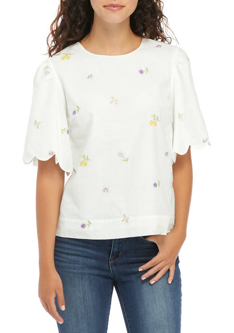 Womens Embroidered Scallop Sleeve Top