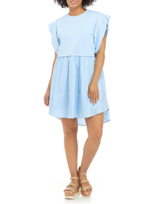 Womens Flutter Sleeve Mini Dress