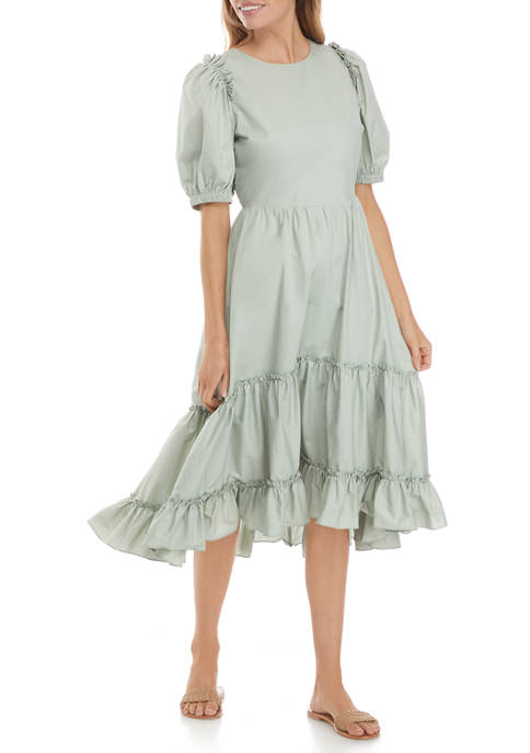 Womens Ruffle Detail Midi Dress